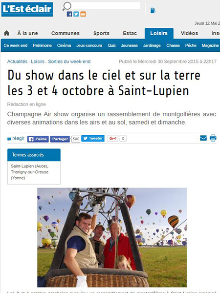 Article de l'Est Eclair - Meeting ballon à St Lupien